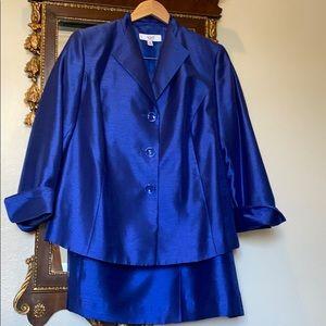 Le Suit Shantung Blue Blazer and Skirt Suit Set
